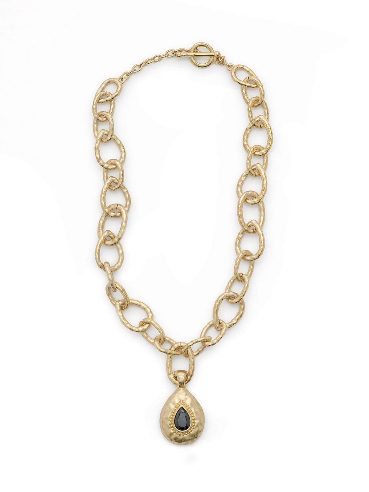 Hammered Link Necklace with Removable Pendant