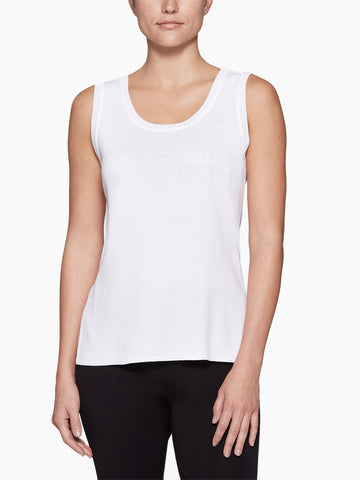 Double Scoop Neck Knit Tank Top, White