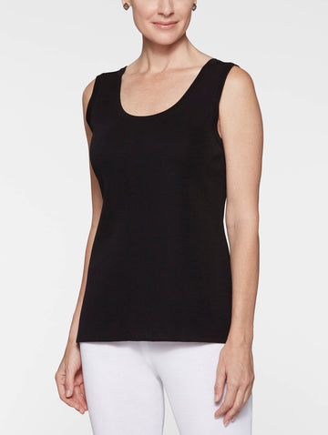 Petite Double Scoop Neck Knit Tank Top, Black
