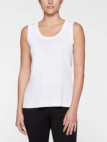 Petite Double Scoop Neck Knit Tank Top, White