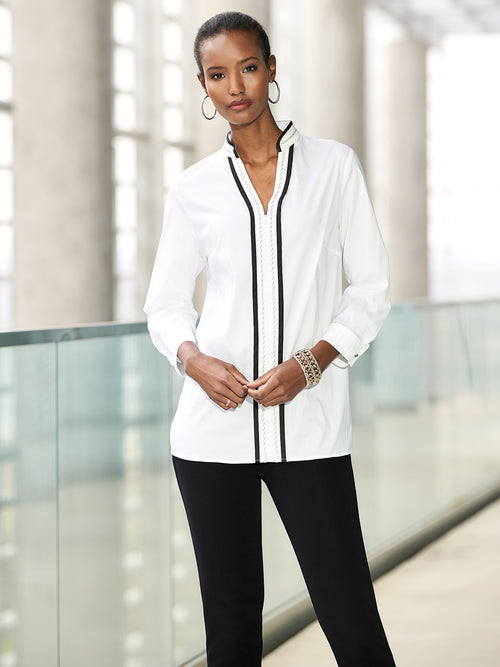Stretch Cotton Zip Front Tunic Color White/Black