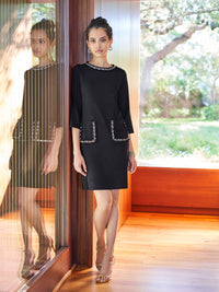 Pearl Ribbon Detail Knit Sheath Dress Color Black