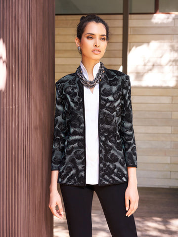 Animal Print Ottoman Knit Jacket