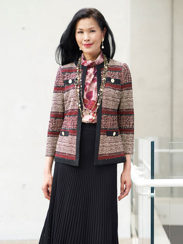 Faux Suede and Tweed Knit Jacket