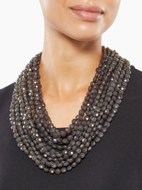 Multistrand Charcoal Bead Necklace | Size Comparison | Hypoallergenic Jewelry | Misook