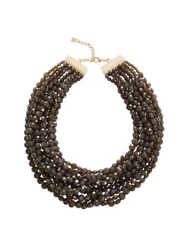 Multistrand Charcoal Bead Necklace
