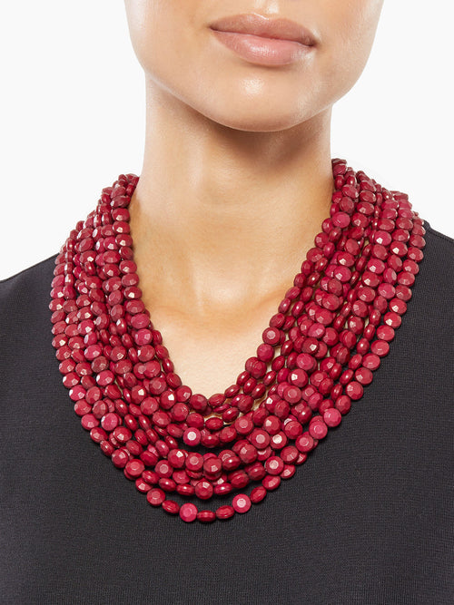 Multistrand Merlot Bead Necklace | Size Comparison | Hypoallergenic Jewelry | Misook