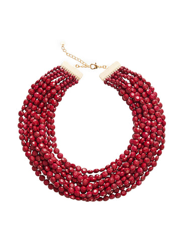 Multistrand Merlot Bead Necklace