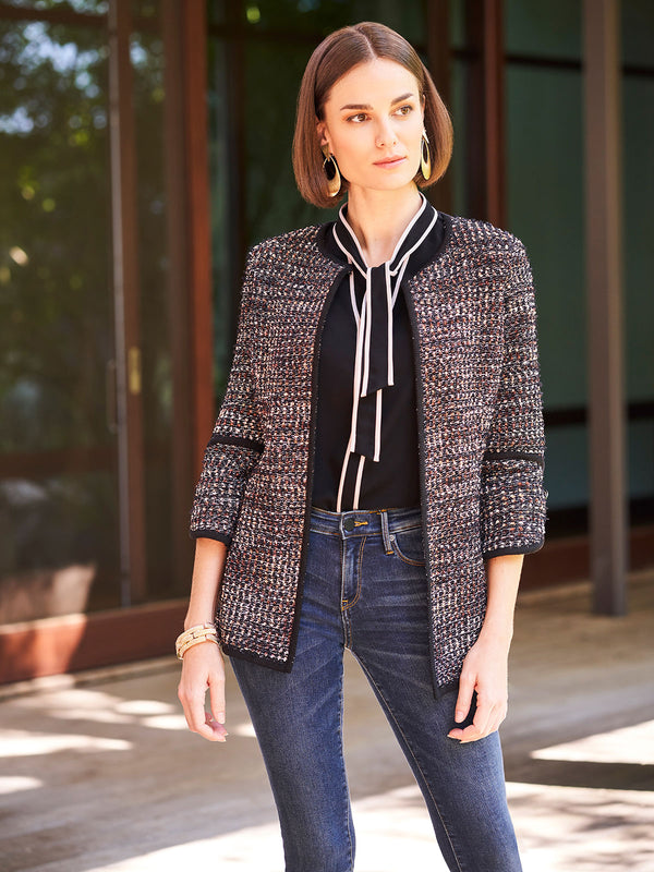 Ribbon Fringe Tweed Knit Jacket