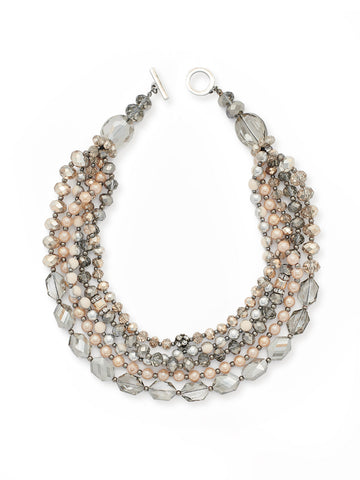 Multistrand Black Crystal and Blush Necklace