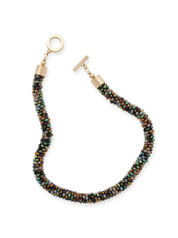 Multicolored Stone Bubble Chain Necklace