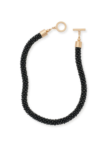 Jet Stone Bubble Chain Necklace
