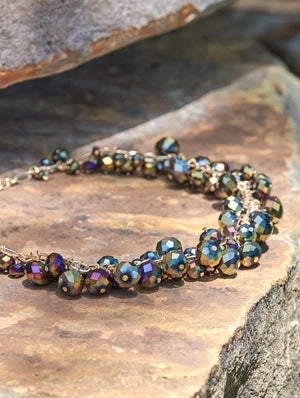 Multi-Hue Faceted Stone Necklace