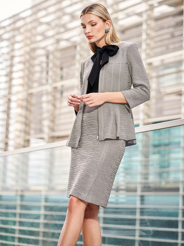 Textured Wavy Pattern Peplum Jacket