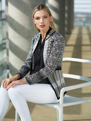 Digital Pattern Jacquard Knit Jacket