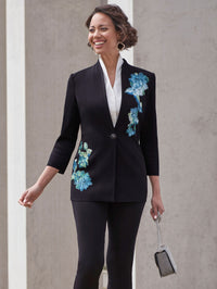 Floral Appliqué Knit Jacket