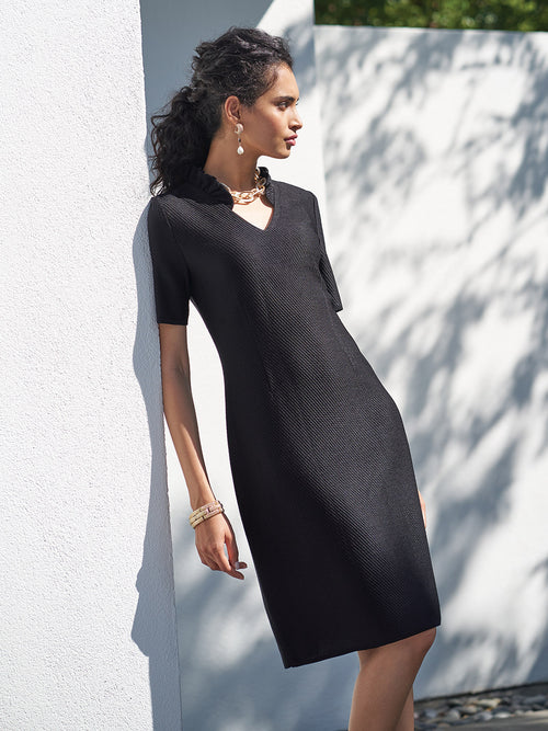 Ruffle Neck Sheath Knit Dress