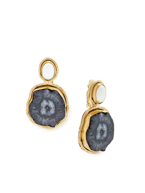 Galaxy Stone and Pearl Clip Earrings – Misook