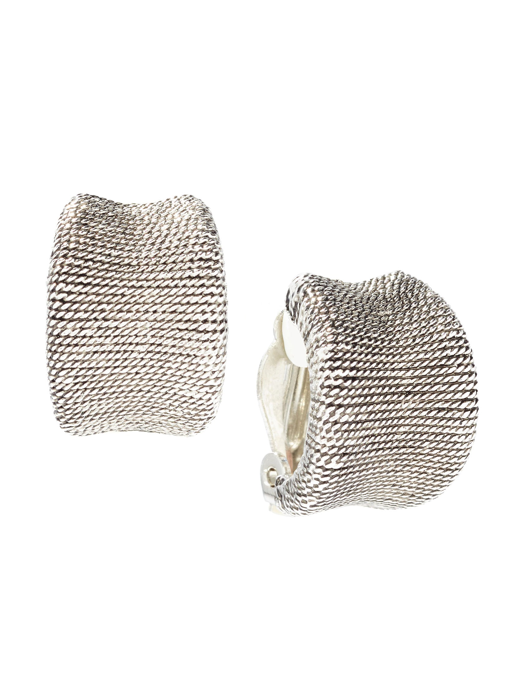 Textured Antique Silver Clip Earrings