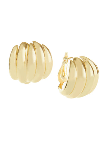 Gold Tone Shrimp Clip Earrings