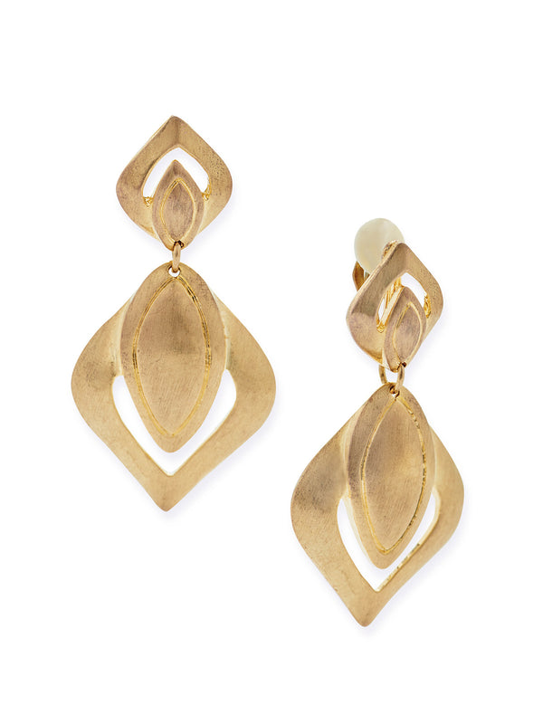 Leaf Drop Clip Earrings