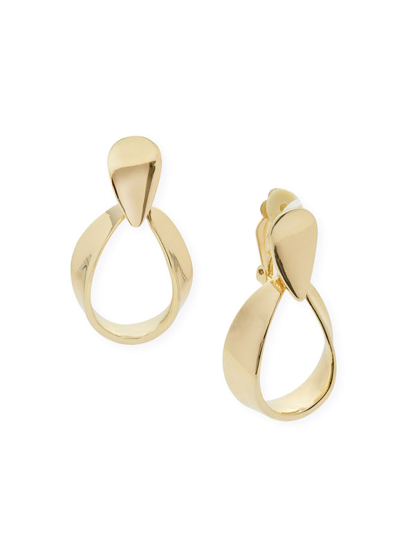 Shiny Gold Drop Loop Clip Earrings