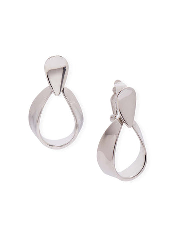 Silver Drop Loop Clip Earrings