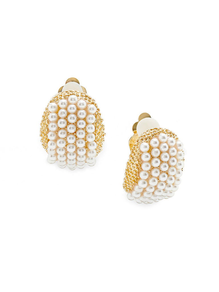 Gold Mini Pearl Clip Earrings