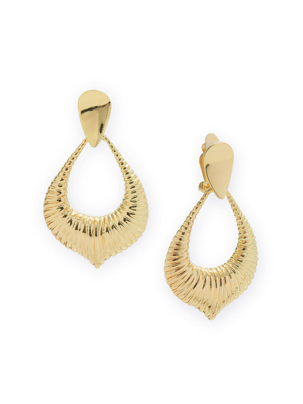 Gold Door Knocker Clip Earrings