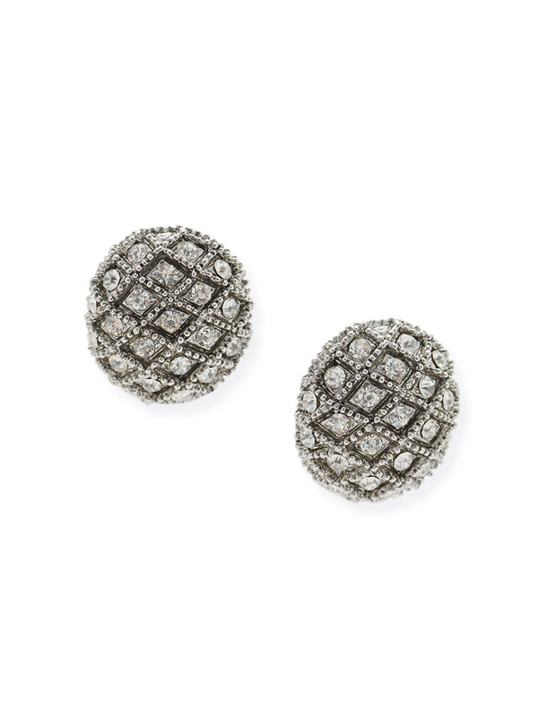 Antique Silver Oval Lattice Clip Earrings