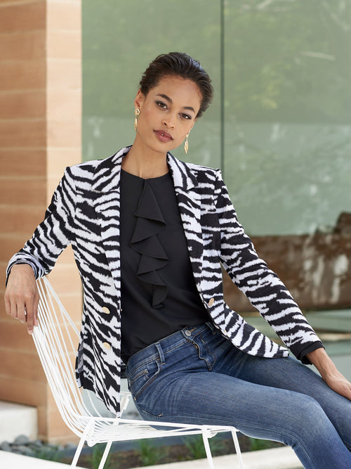 Plus Size Zebra Pattern Knit Jacket