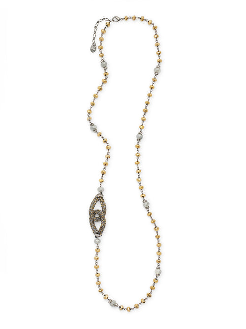 Bronze and Grey Faceted Bead Necklace