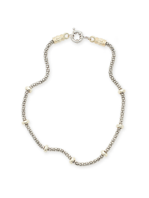 Silver Bubble Chain with Gold Accents Necklace