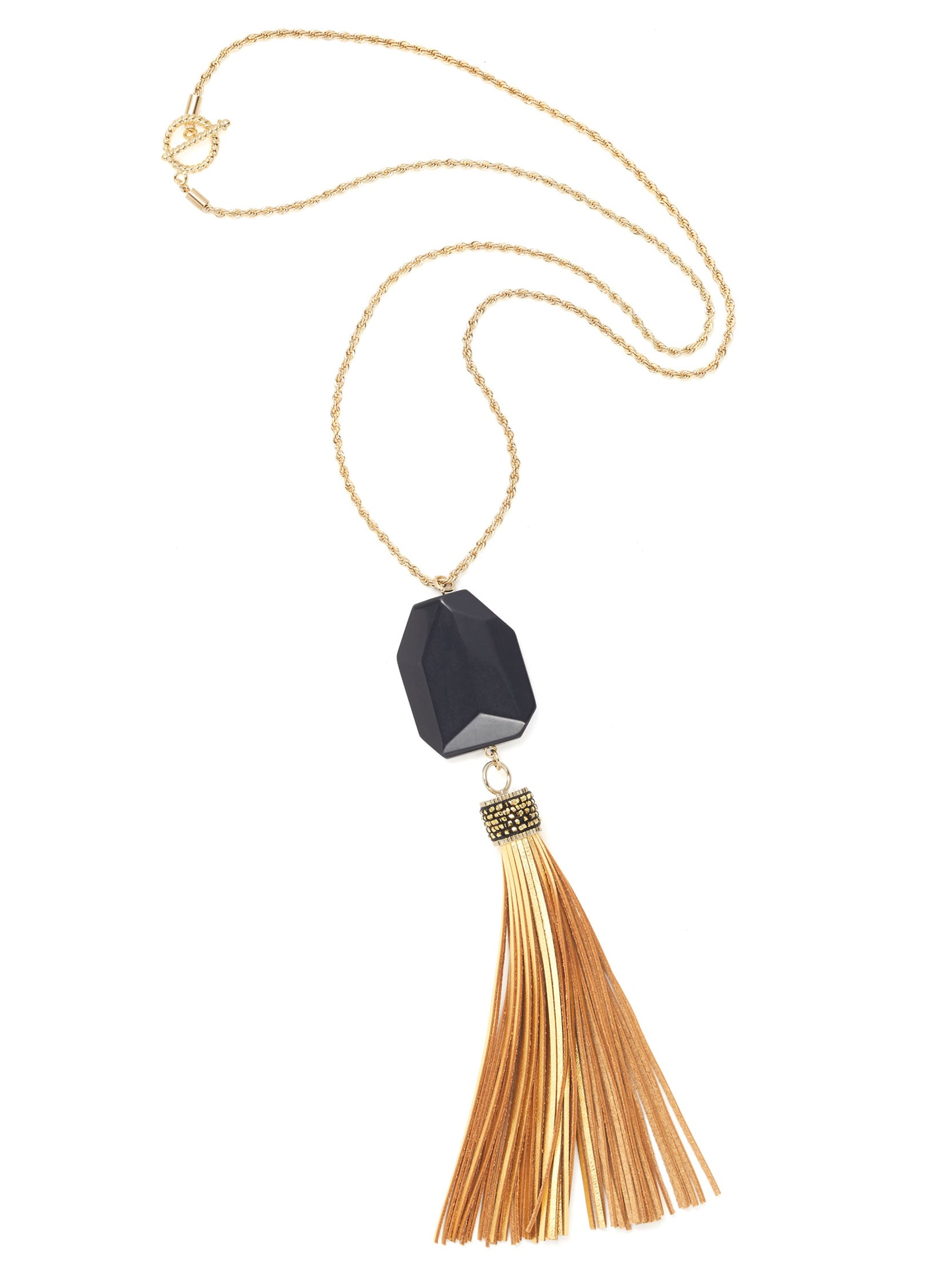 Faceted Pendant Necklace with Gold Tassel