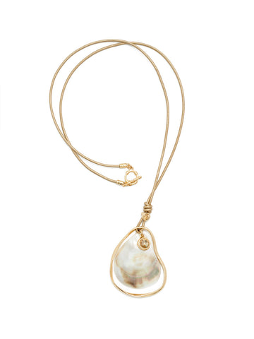 Mother-of-Pearl Drop Shell Cord Necklace