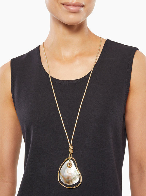 Mother-of-Pearl Drop Shell Cord Necklace-Misook
