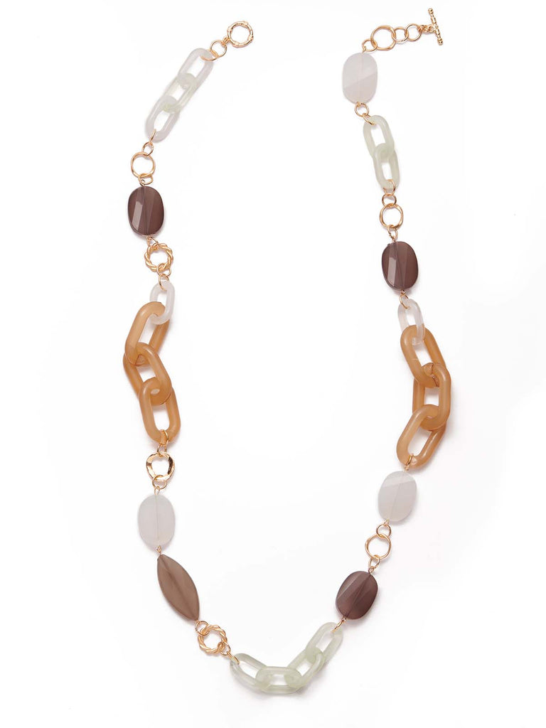 Long Lucite and Flat Stone Necklace