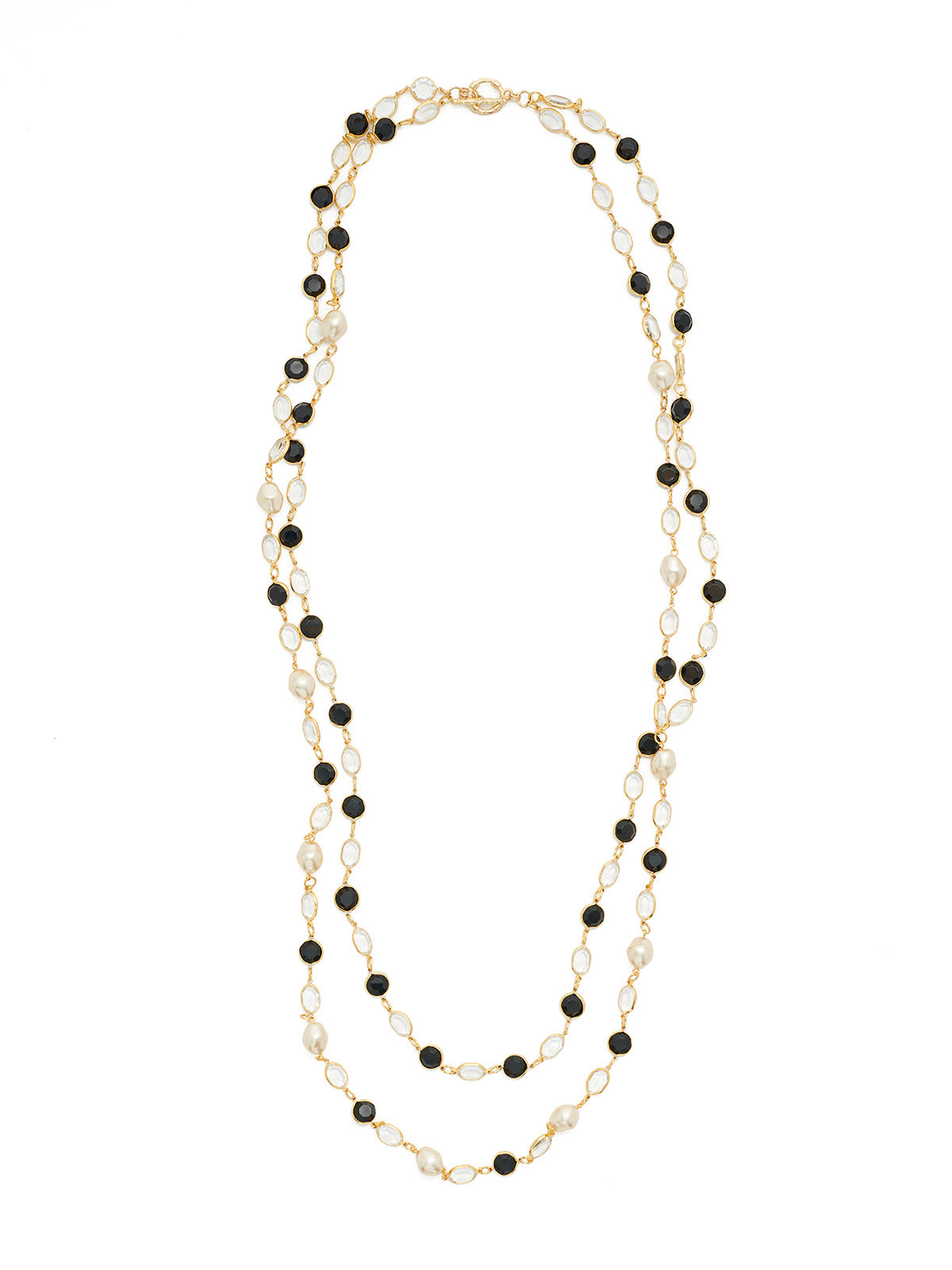 Dual Strand Crystal and Pearl Necklace