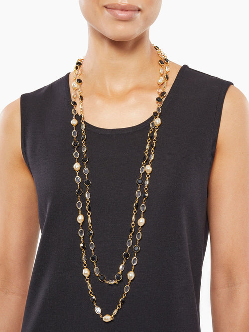 Dual Strand Crystal and Pearl Necklace-Misook