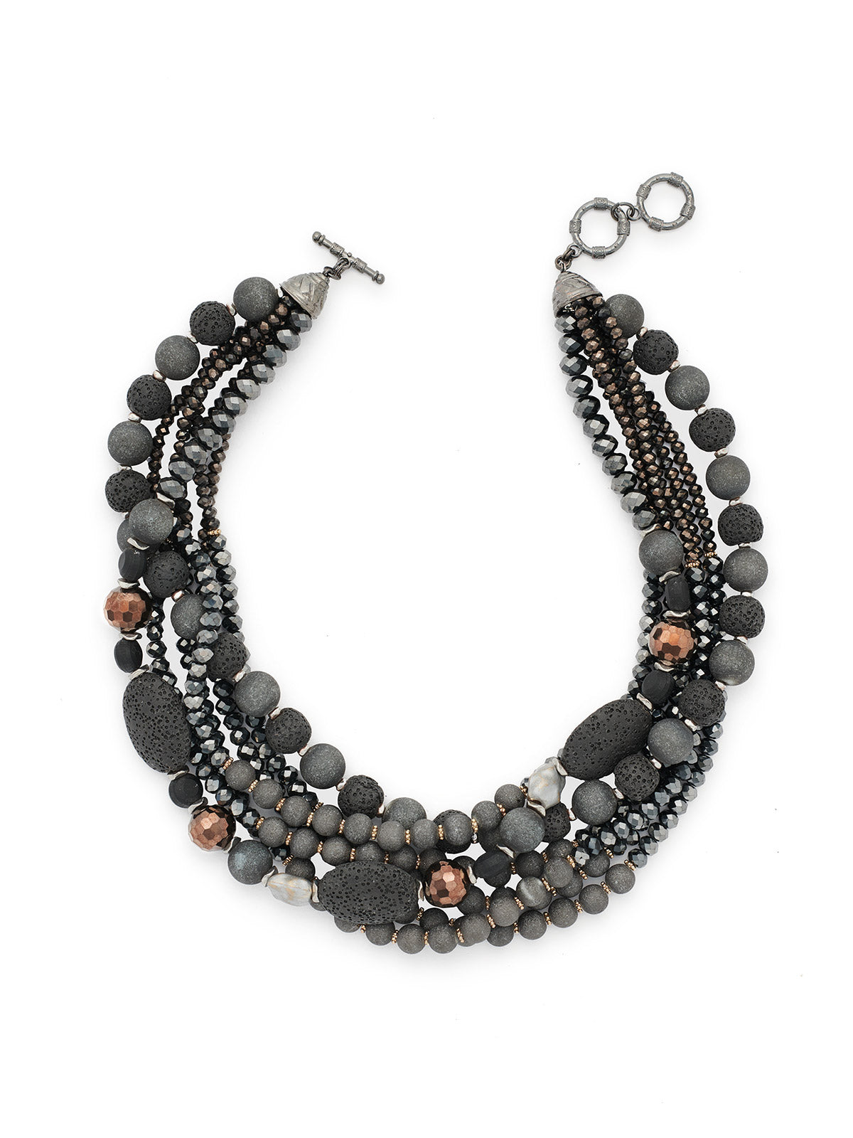 Lava Stone and Crystal Bead Necklace