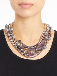 Stacked Bead and Crystal Necklace – Misook