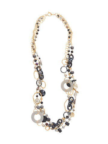 Multistrand Bead and Lucite Gold Long Necklace