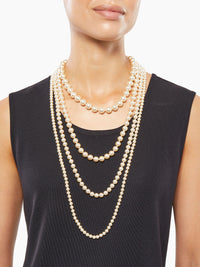 Four Row Graduated Pearl Necklace on Model