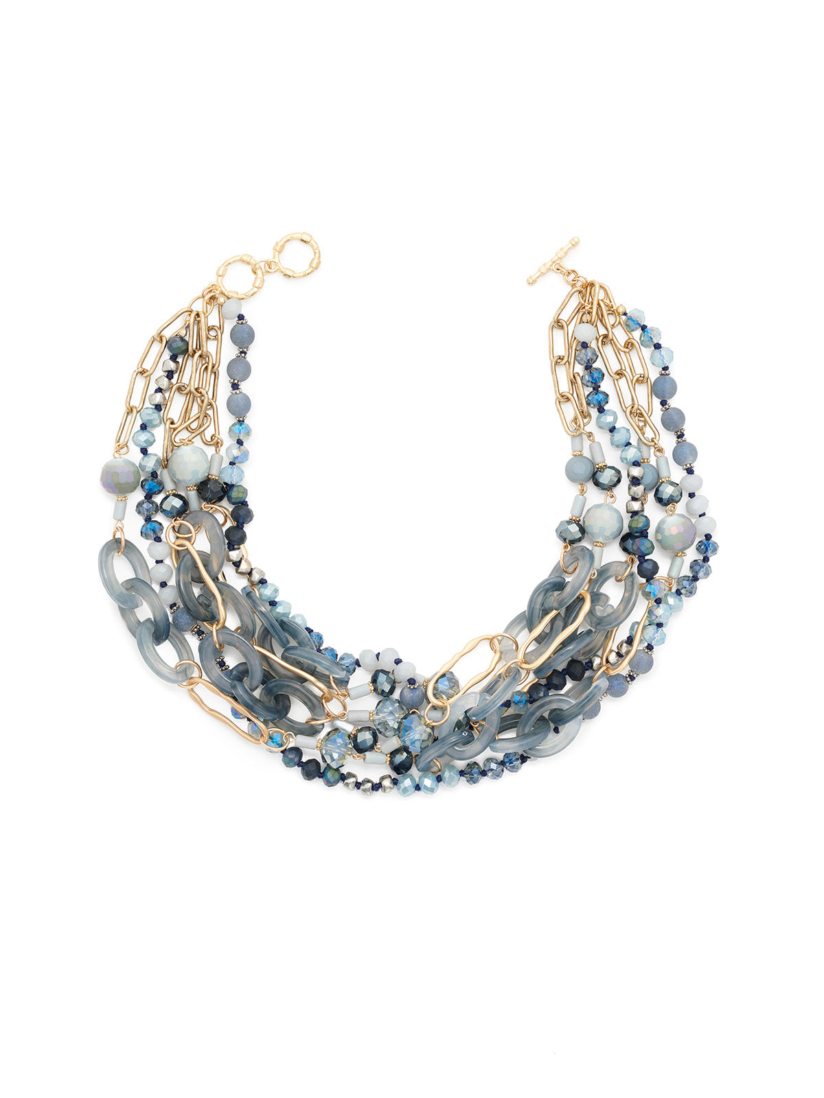 Multistrand Blue Crystal and Gold Link Necklace