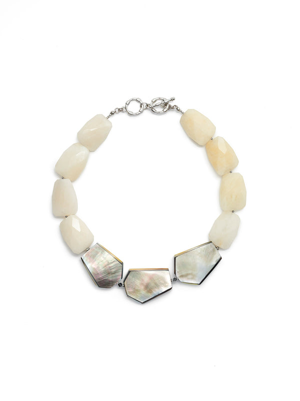 Mother-of-Pearl and Quartz Statement Necklace