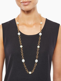 Baroque Pearl and Gold Link Necklace | Size Comparison | Hypoallergenic Jewelry | Misook