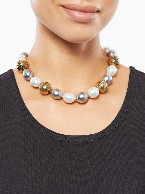 Baroque Antique Pearl Necklace on Model