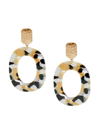 White and Gold Oval Drop Pierced Earrings