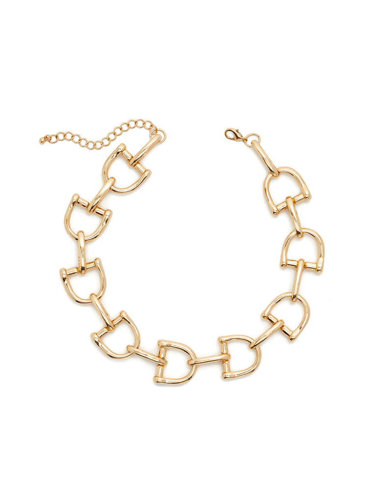 Gold Horsebit Link Necklace