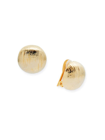 Striated Gold Dome Clip Earrings